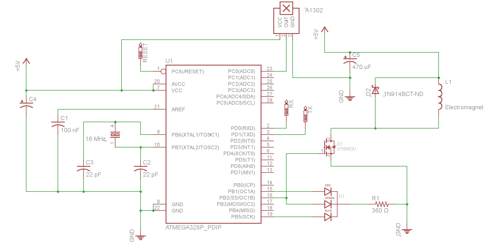 Arduino Controlled Magnetic Levitator Current Loop Wiring Diagram Atmega328 Circuit